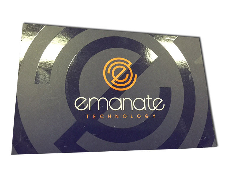 emanate spot gloss uv business cards