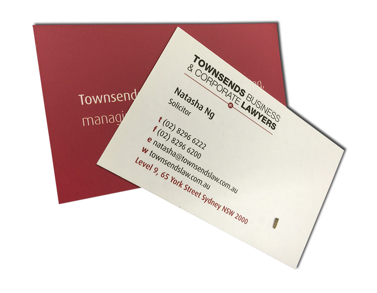 townsends business cards front and back