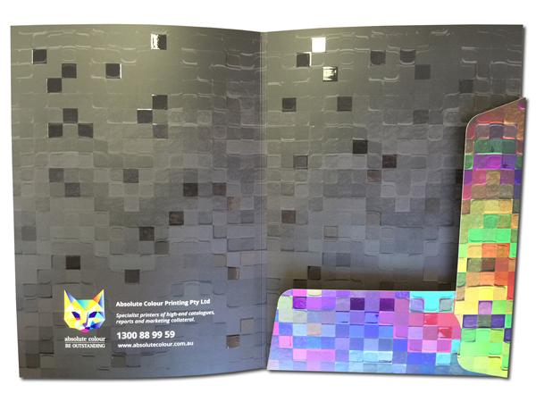 spot gloss uv printing on presentation folder full colour printed both sides, custom die cut