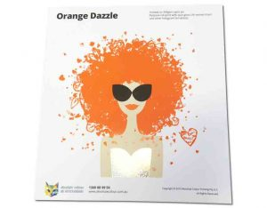 Spot and Process Colour Printing, Orange Pantone 021c PMS with Silver foiling hot stamped.