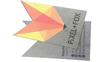 Die Cut Business Card Printing Custom Cut orange grey card in Australia