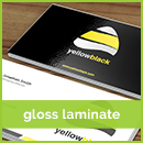 Glossy Laminated Black, Yellow and White business card printing