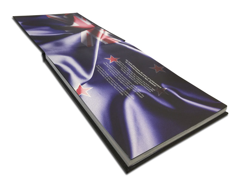 cloth bound hard cover book side view