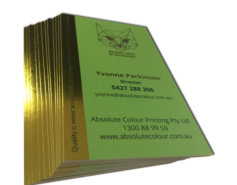 Foldable cards with green & gold. 700gsm or silver foil and embossed finishes. Free Delivery in Australia.