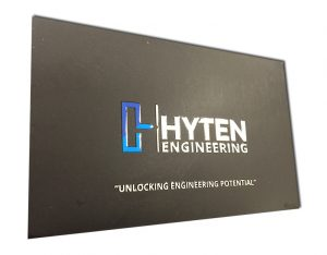 hyten raised uv business card closeup