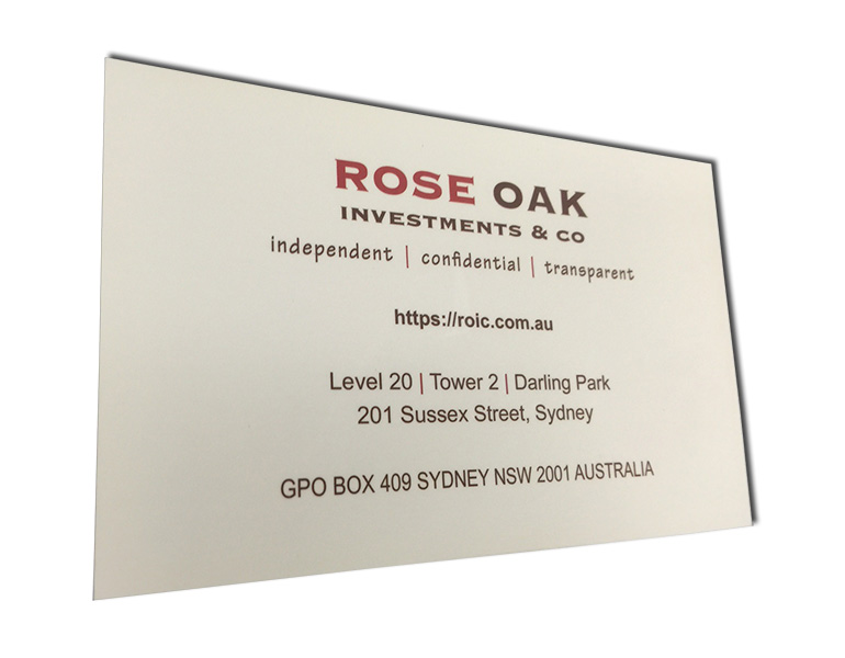 rose oak business card front