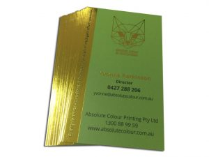 Luxurious 700gsm satiin artboard. Double thickness of most business cards. Hot gold foil stamping.