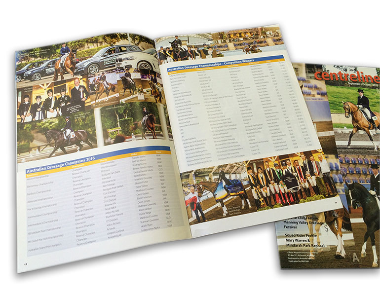 Custom Catalogue Book Printing Online, Saddle stitched,44pp A4 self cover booklet used as show program. Full Colour