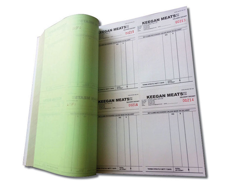 Custom Carbonless books delivery dockets for meat supplier inner light weight pages
