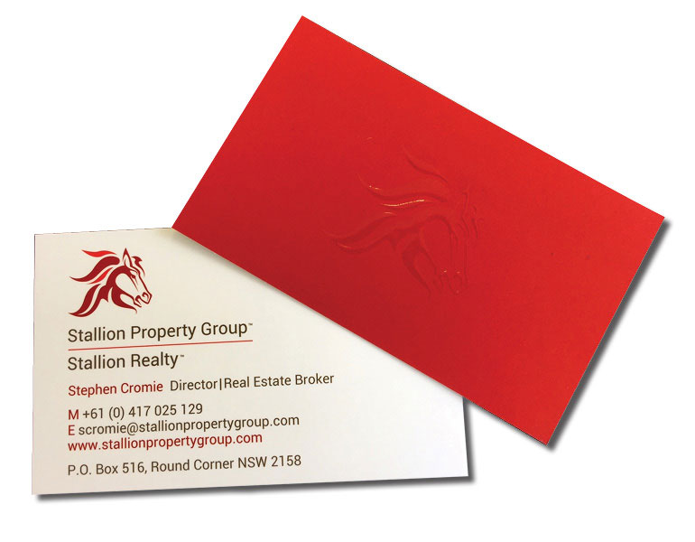 business cards with blind spot gloss raised UV varnish back and front