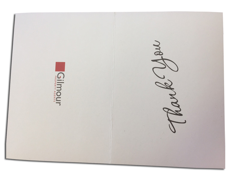 Thank you card with score for folding