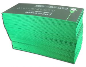 PMS-green-business-card-stack