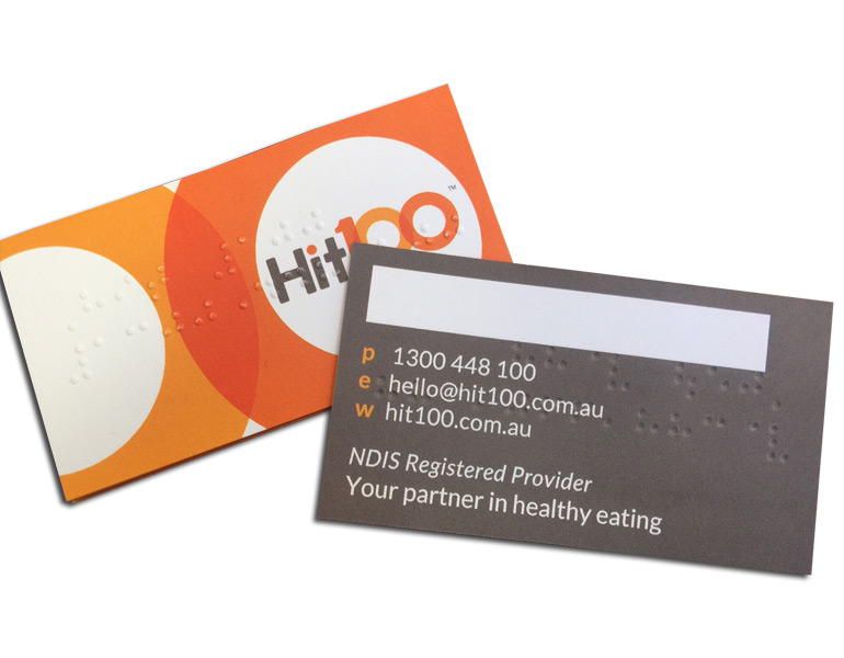 Sydney Braille business card printing