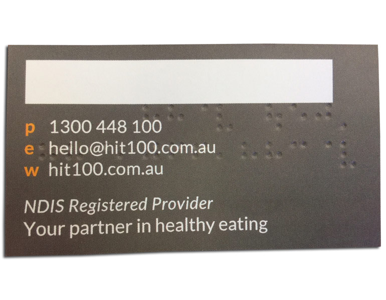 Australia Braille business card printing