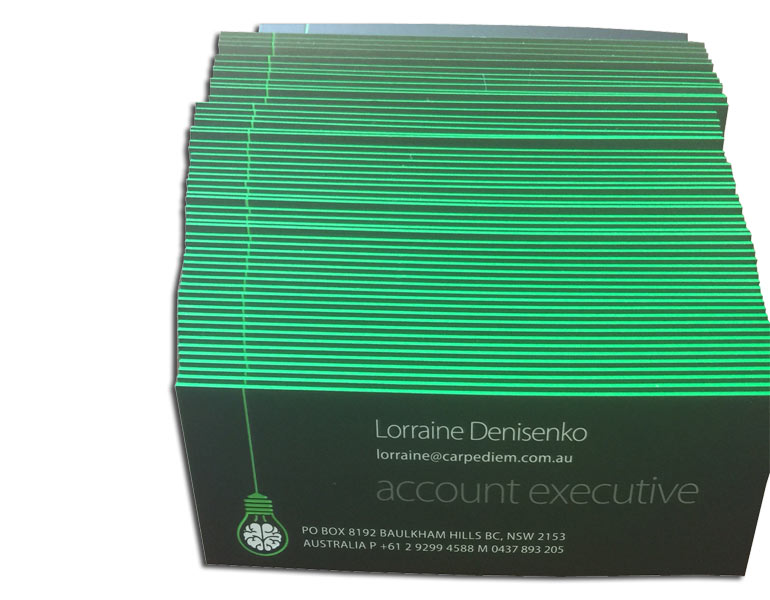 business-cards with painted edges green
