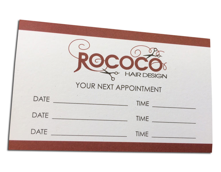 hairdressing appointment cards