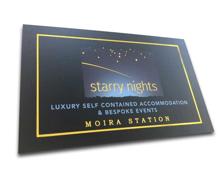 Gold Foil Business Card Printing, Stamped on Black Card