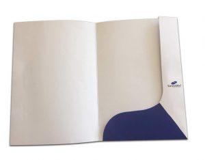Corporate presentation folders with inside pocket, printed on outer and finished with gloss lamination, easy self assemble