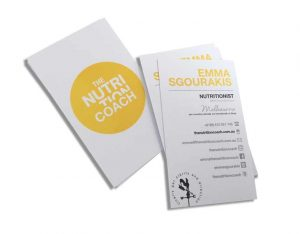 2 colour business cards on white card