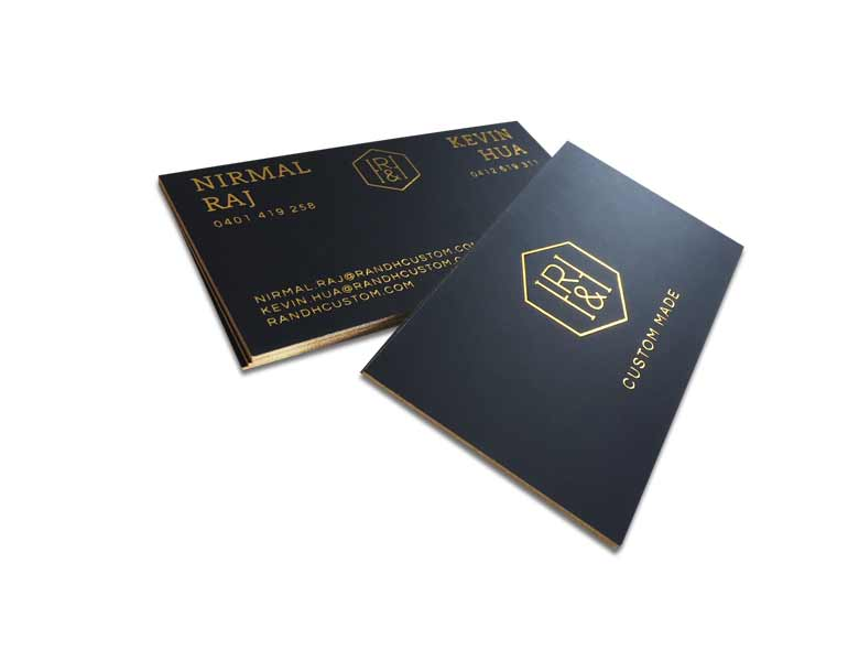 Gold Foil on black business card letterpress printing, 450 gsm card with PMS gold foil gilded edge