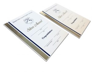 A5 silver foil certificates for Seven Hills Public School