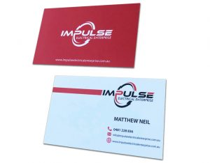 Red and White business card design with solid back red 350gsm