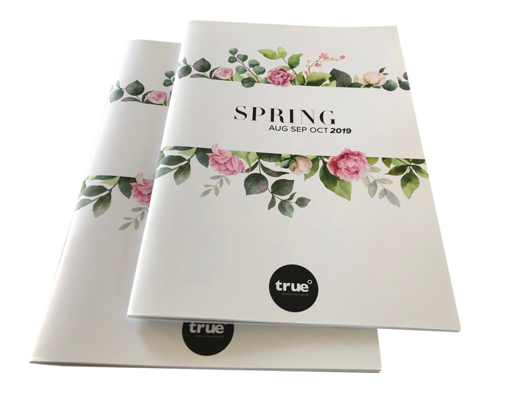 Full colour booklets with thick cover, saddle stitched to A4 portrait Catalogues
