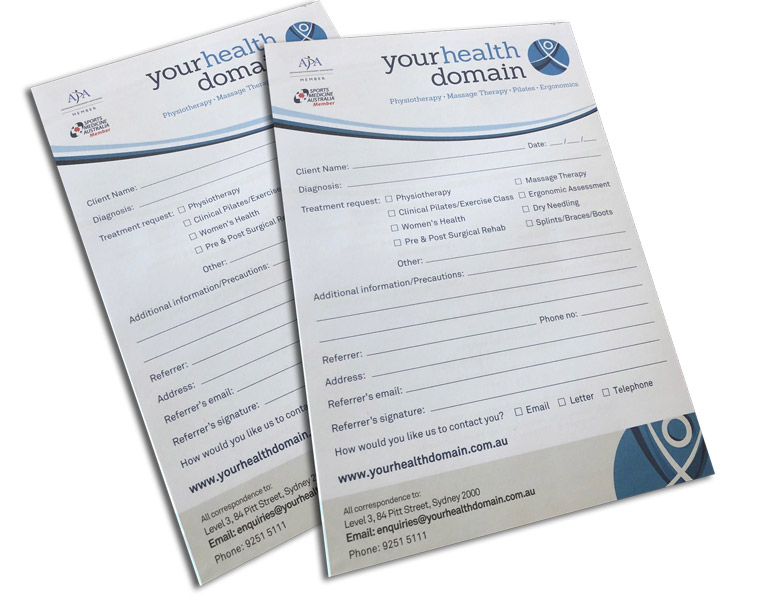 A5 health clinic notepads printed Single sided branded