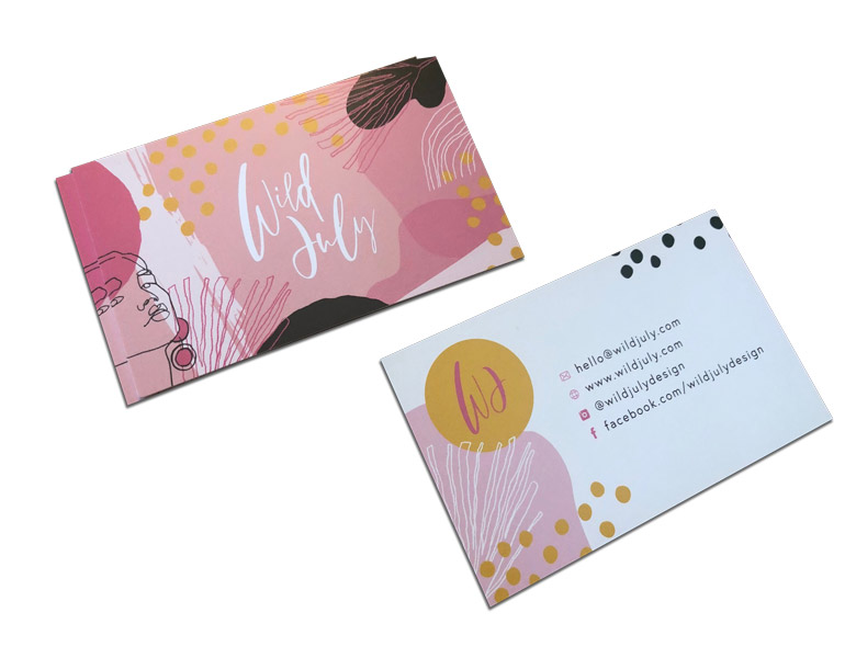 Business Cards printed full colour, both sides with bleed on 380gsm card - Creative pink